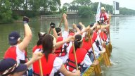 Beating Drums On A Dragon Boat stock footage