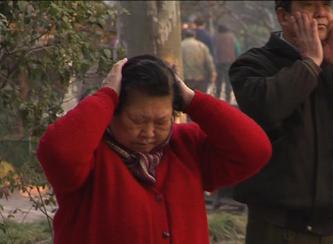Morning exercises in Shanghai park Stock Video Footage