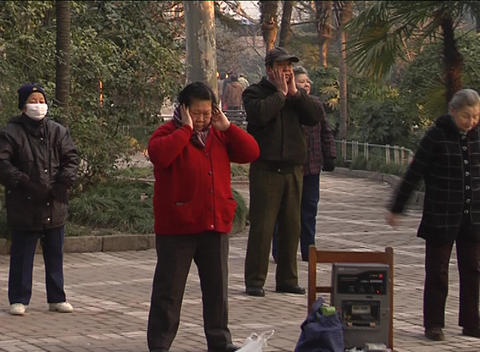 Morning exercises in Shanghai park Footage