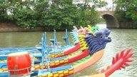 Dragon Boats Moored On Lake stock footage