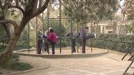 Elderly Exercises In Shanghai Park stock footage