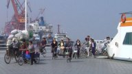 Crowd Exiting Yangzi River Ferry stock footage