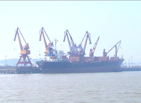 Large ship in dock near Shanghai Stock Video Footage