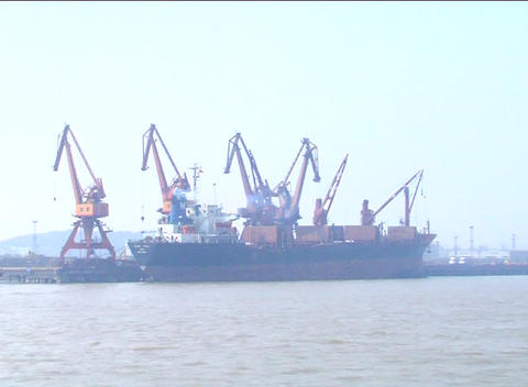 Large ship in dock near Shanghai Footage