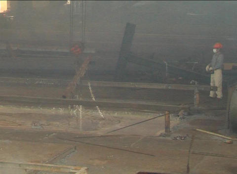 Steel products in galvanizing plant Stock Video Footage
