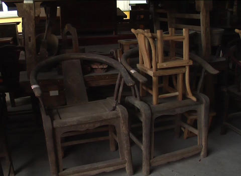 Antique Chinese furniture in storage Stock Video Footage