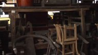 Antique Chinese Furniture In Storage stock footage