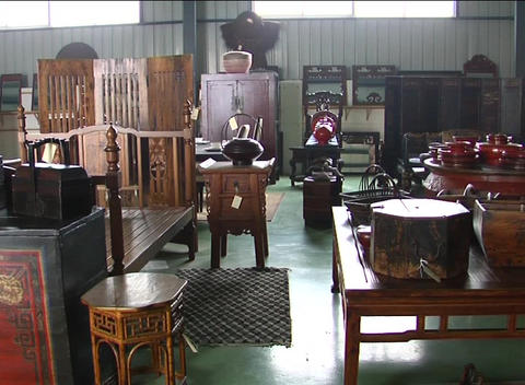 Restored Chinese antique furniture in showroom Stock Video Footage