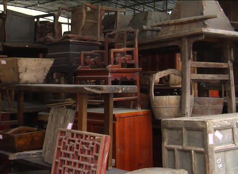 Unrestored Chinese antique furniture in storage Footage
