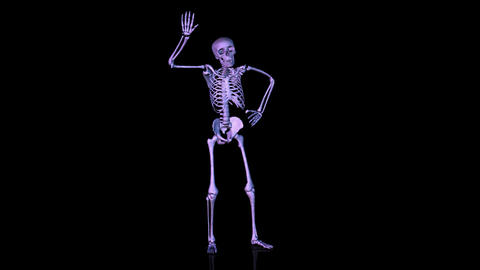 Skeleton Disco dancing. Blue Animation