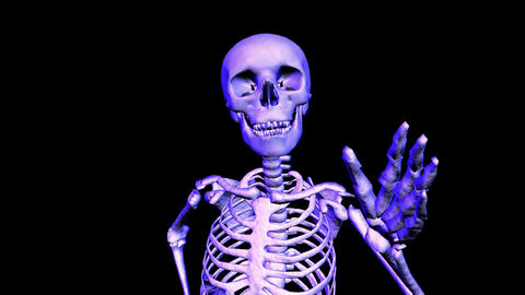 Skeleton unning Loop upper front Stock Video Footage