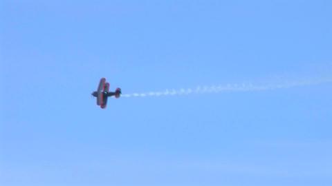 Biplane Trails Smoke Stock Video Footage