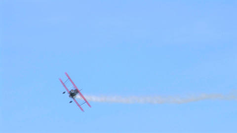 Biplane Trails Smoke Stock Video Footage