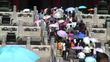 Chinese climbing stairs leading to Forbidden City palace Footage