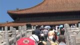Chinese people climbing stairs to Forbidden City, Beijing Footage