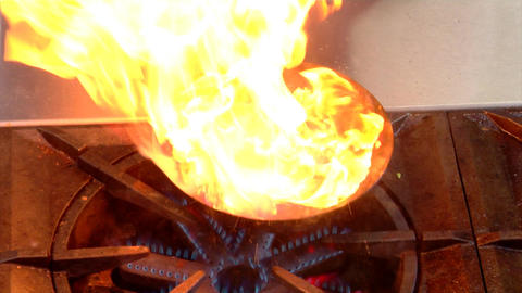 Burst of Cooking Fire Flame Stock Video Footage