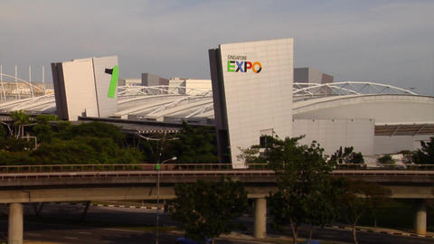 Very wide shot of Singapore Expo Stock Video Footage