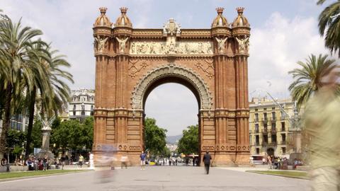 arc triompe barcelona2 Stock Video Footage