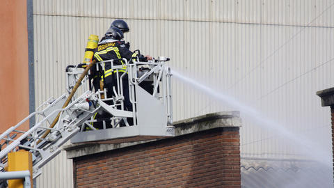 barcelona firemen00 Stock Video Footage