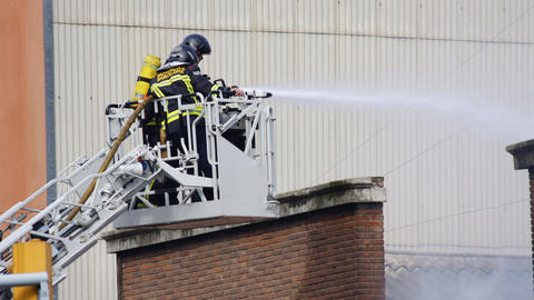 barcelona firemen00 Stock Video Footage