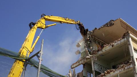 Crane Munching10 stock footage