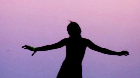 sunset dancer0 Stock Video Footage