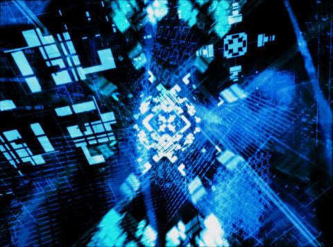 Flying Blue Geometrics : VJ Loop 033 Stock Video Footage