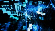 Flying Blue Geometrics : VJ Loop 033 stock footage