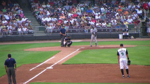 Throw Out at First Base Stock Video Footage