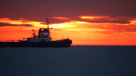Sea sunset. Tugboat Stock Video Footage