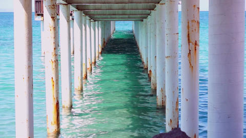 Under the Boardwalk Down by the Sea Stock Video Footage