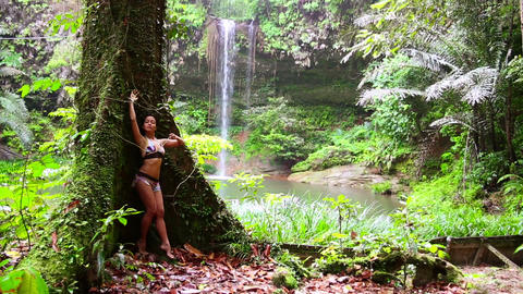 Sexy girl with bikini in forest Footage