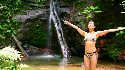 happy girl open arms in nature Stock Video Footage
