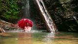 Man with umbrella at waterfall Footage