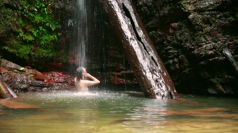 caucasian man enjoying in waterfall Stock Video Footage