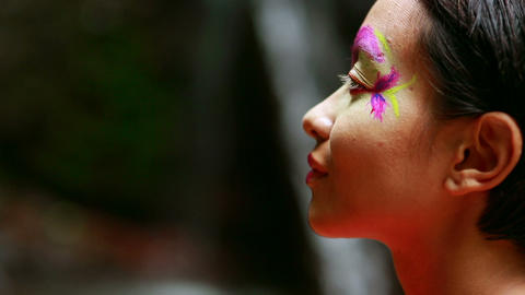 Tribal Face painting in jungle Stock Video Footage