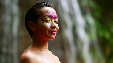 Tribal Face painting in jungle Footage