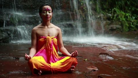 Meditating with Facial Painting Stock Video Footage