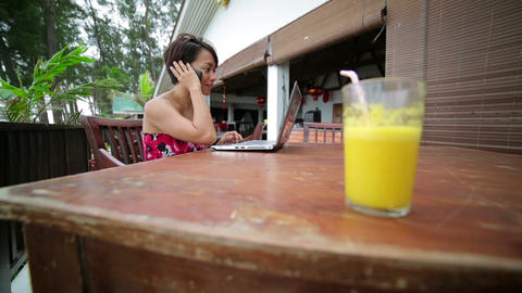 Freelancer woman working at cafe Footage