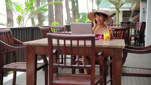 Asian woman at cafe Stock Video Footage