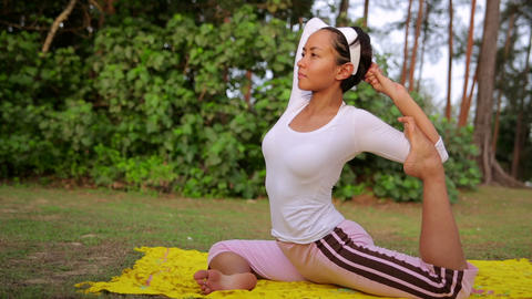 Yoga meditation exercise in nature Stock Video Footage