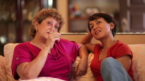 happy mother daughter conversation Stock Video Footage