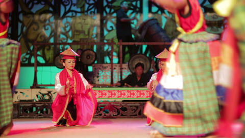SARAWAK, MALAYSIA - JUNE 2012: Iban and Malay tribal performance Footage