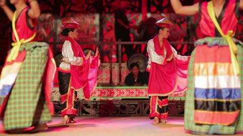 SARAWAK, MALAYSIA - JUNE 2012: Iban and Malay tribal... Stock Video Footage