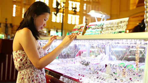 Asian girl shopping central market Footage