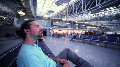 young man waiting his flight Footage