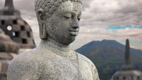 Borobudur Buddha Statue, indonesia Stock Video Footage