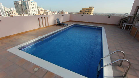 swimming pool at roof Stock Video Footage