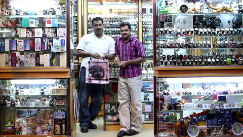 BAHRAIN - MARCH 2012: sellers in a local shop Footage