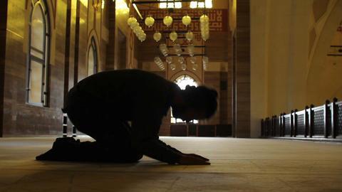 namaz: muslim worship in mosque Stock Video Footage